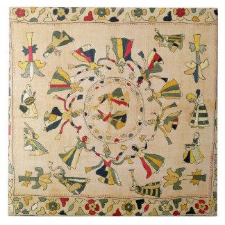 Rumal: square embroidery cover showing Punjabi dan Tile