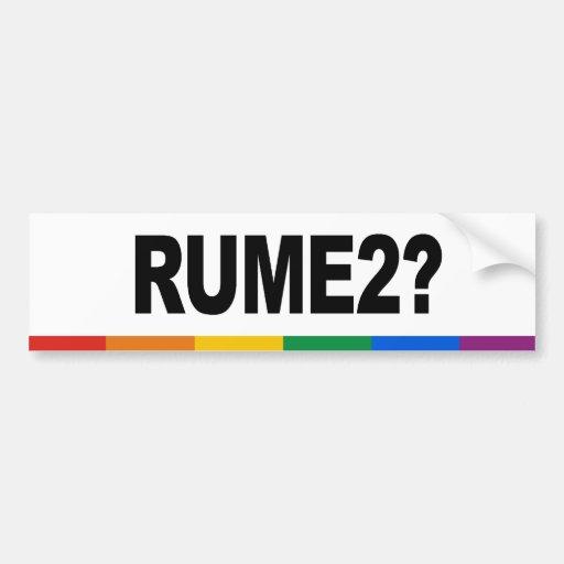 RUME2 CAR BUMPER STICKER