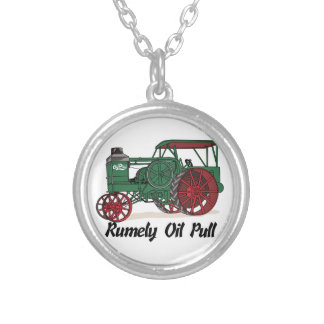 Rumely Oil Pull Tractor Round Pendant Necklace