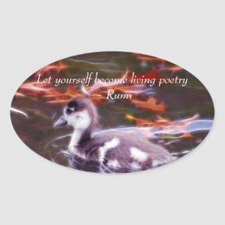 Rumi become living poetry oval sticker
