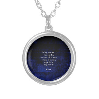 Rumi Inspirational Taking Action Quote Silver Plated Necklace
