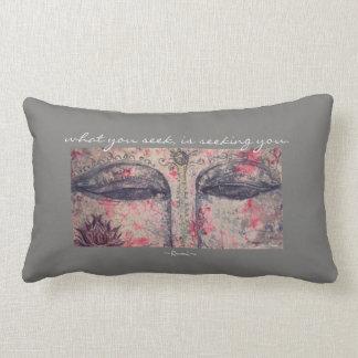 Rumi Quote Buddha Eyes Art Lumbar Throw Pillow