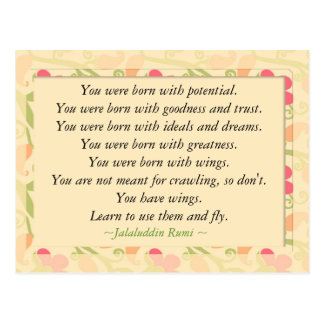 Rumi Quote Inspirational Motivational Postcard