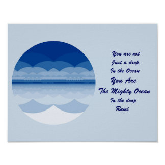 Rumi Quote Poster Art. Ocean Mandala Inspiration.