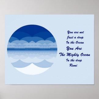 Rumi Quote Poster Art. Ocean Mandala Inspiration.