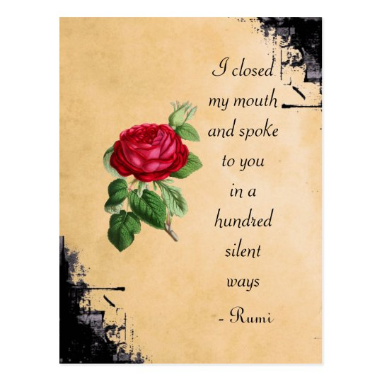 Rumi Quote Typography with Vintage Red Rose Postcard