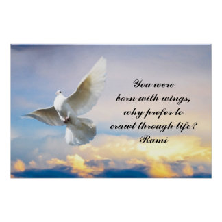 Rumi You were born with wings Poster