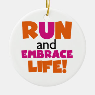 Run and Embrace Life Orange Pink Christmas Ornament