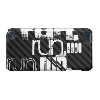 Run; Black & Dark Gray Stripes iPod Touch (5th Generation) Case