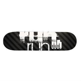 Run; Black & Dark Gray Stripes Skate Board Deck