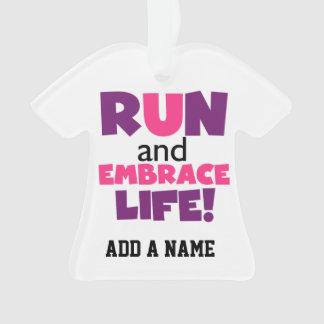 Run Embrace Life Purple Pink Ornament