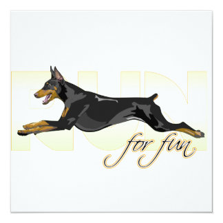 Run For Fun, Black Doberman 13 Cm X 13 Cm Square Invitation Card