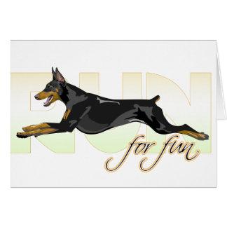 Run For Fun Black Doberman Cards