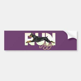 Run for Joy, Black Doberman Bumper Sticker