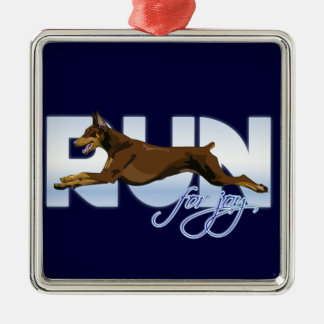 Run for Joy, Red Doberman Christmas Ornament