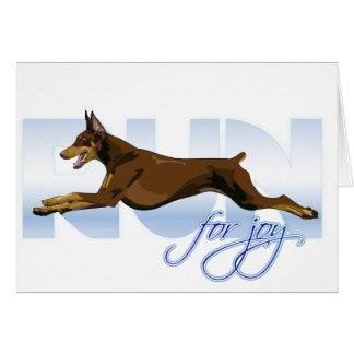 Run for Joy Red Doberman Greeting Cards