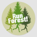 Run Forest, Protect the Earth Day Round Stickers
