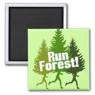 Run Forest, Protect the Earth Day Square Magnet