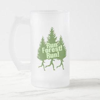 Run Forest Run Frosted Glass Mug