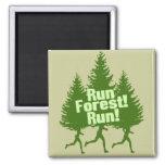 Run Forest Run Square Magnet