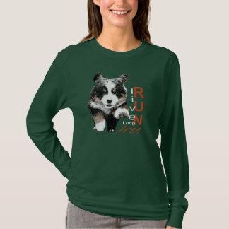 Run Free Berner Puppy womens long sleeve t-shirt