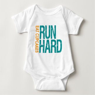 Run Hard Eat Cupcakes Baby Bodysuit