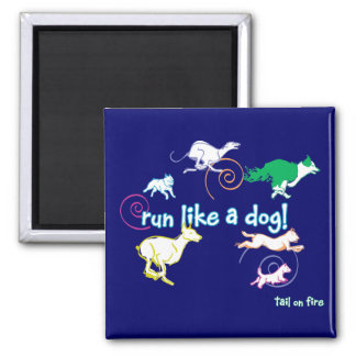 Run like a Dog, Tail on fire! Square Magnet
