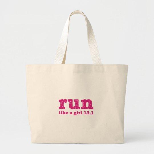 run like a girl large tote bag