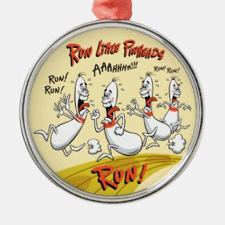 Run Little Bowling Pinheads Christmas Ornament