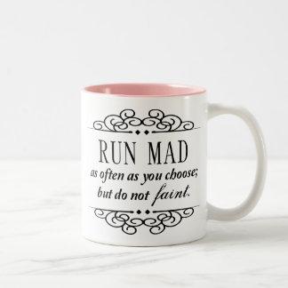 Run Mad / Do Not Faint Jane Austen Typography Mug