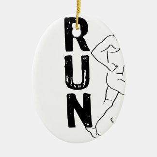 RUN Man Ceramic Oval Decoration