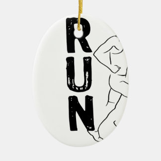 RUN Man Double-Sided Oval Ceramic Christmas Ornament
