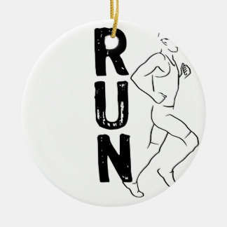 RUN Man Round Ceramic Decoration
