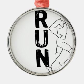 RUN Man Silver-Colored Round Decoration