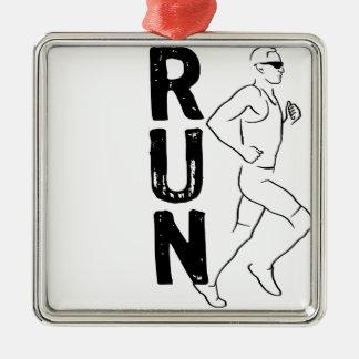 RUN Man Silver-Colored Square Decoration