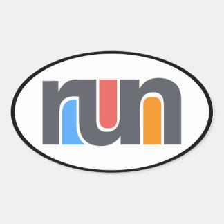 Run Oval Car Sticker