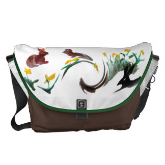 Run Rabbit Run Floral Animal Art Courier Bag