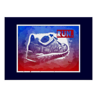 Run Running Shoe Fitness Exercise Poster Runners