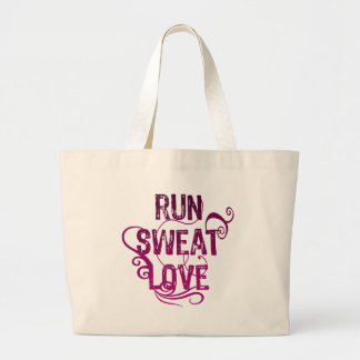Run Sweat Love Large Tote Bag
