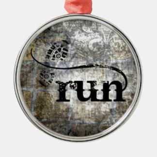 Run w/Shoe Grunge by Vetro Jewelry & Designs Christmas Ornament