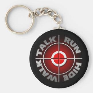 Run walk talk hide. basic round button key ring