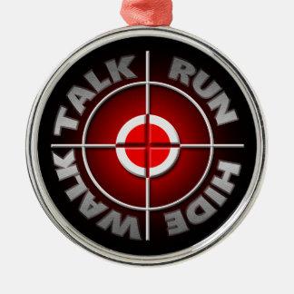 Run walk talk hide. Silver-Colored round decoration