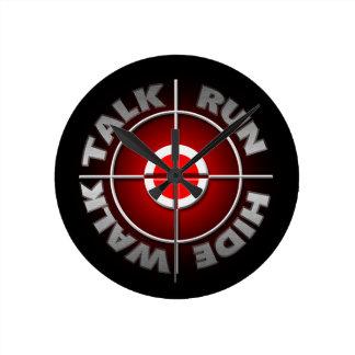 Run walk talk hide. wall clock