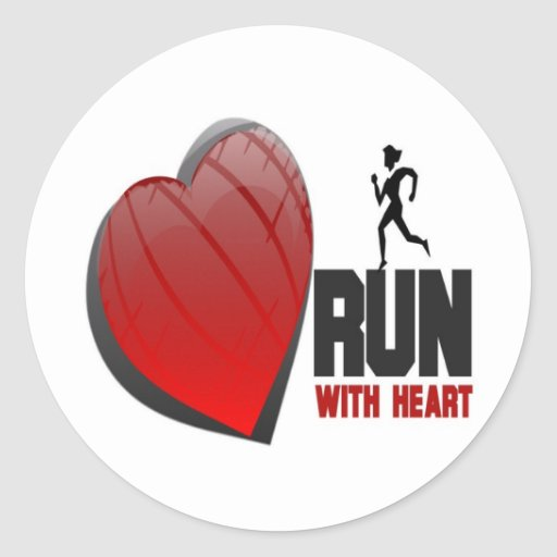 RUN WITH HEART PRODUCTS ROUND STICKER