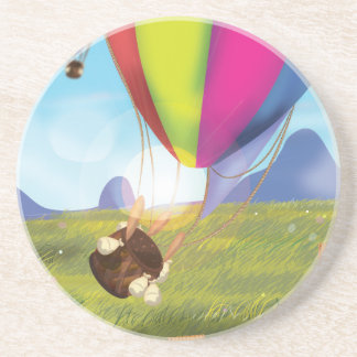 Runaway Cartoon Balloon Beverage Coaster