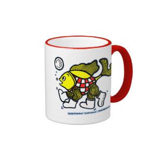 Runaway Fish cute Fish on the Run comics Ringer Mug
