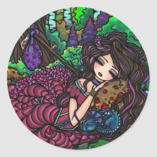 """Runaway Princess"" Fairy Dragon Fantasy Forest Art Classic Round Sticker"