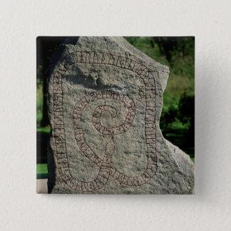 Rune stone outside Gripsholm Castle 15 Cm Square Badge