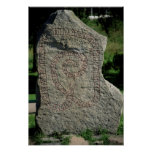 Rune stone outside Gripsholm Castle Poster