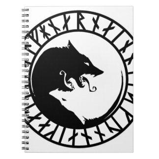 Runic Dire Wolf viking norse nordic runes Spiral Notebook